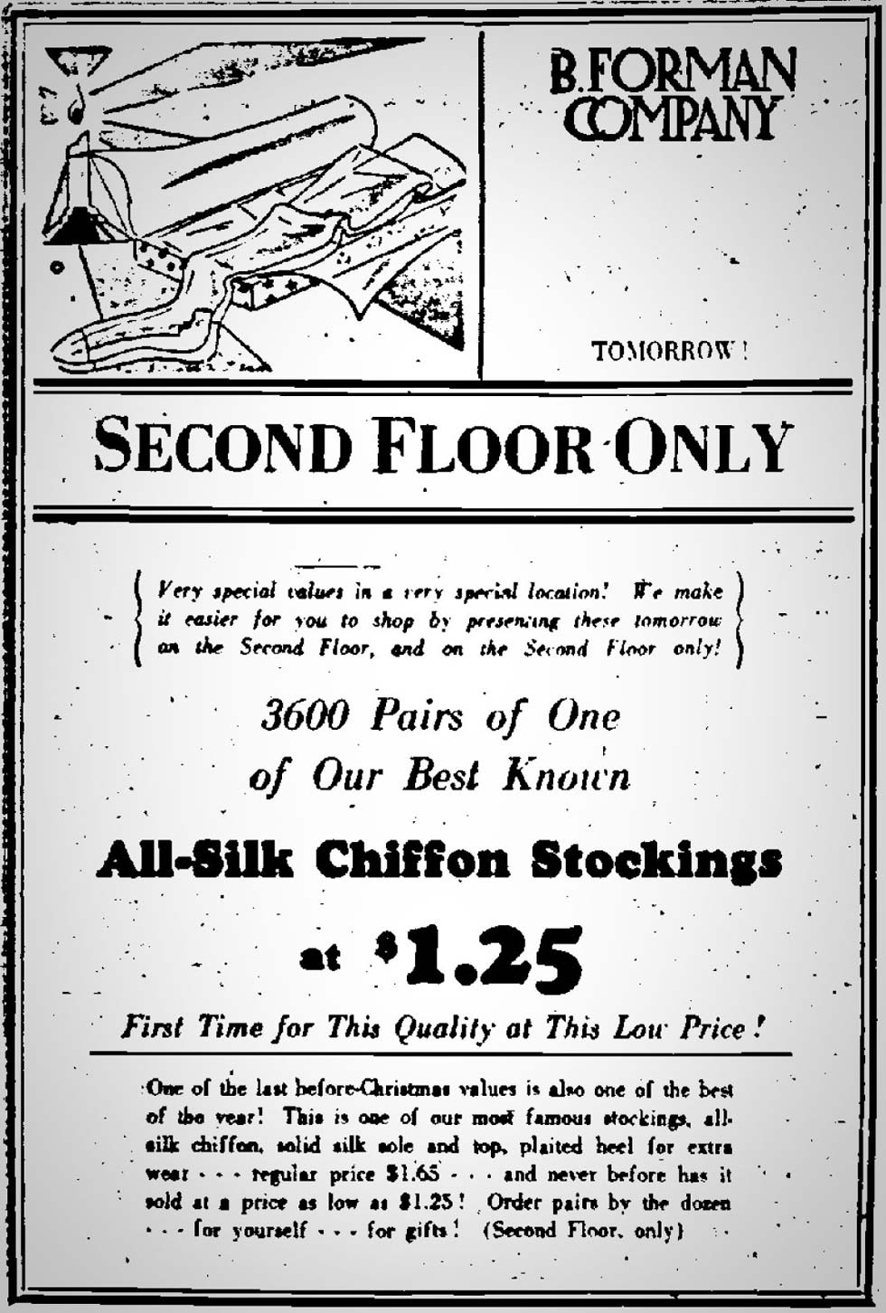 B. Forman Co. advertisment in the Democrat and Chronicle, December 22, 1929. [SOURCE: FultonHistory.com]