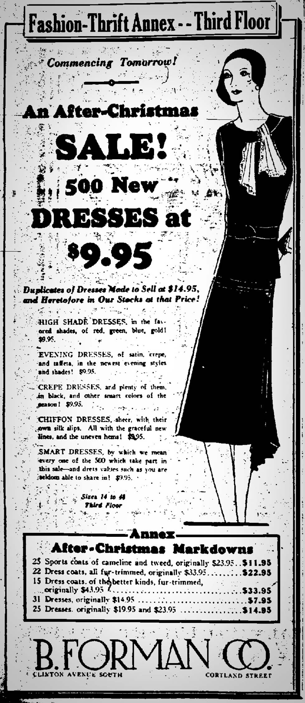 B. Forman Co. advertisment in the Democrat and Chronicle, December 25, 1929. [SOURCE: FultonHistory.com]
