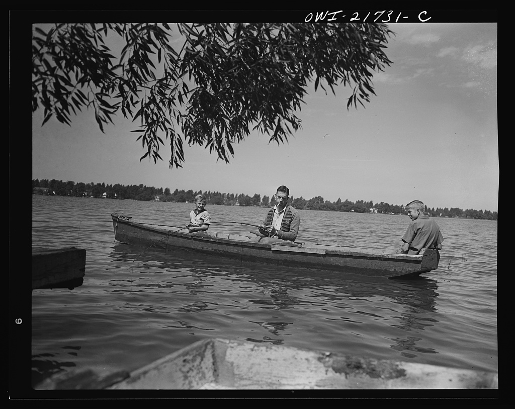 Mr. Babcock and his two sons, Earl and Howard, fishing on Sunday afternoon [PHOTO: Library of Congress]