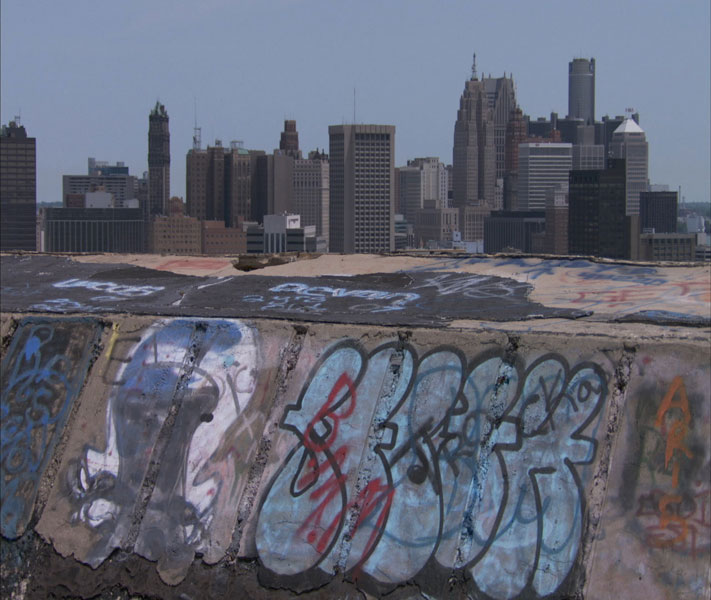 The latest installment in the BLUEPRINT AMERICA initiative takes viewers on a cinematic journey in search of America's transportation future. Pictured: A view of downtown Detroit from the top of the run-down Michigan Central Train Station. (Photo Credit: Lloyd Handwerker/WNET.ORG)