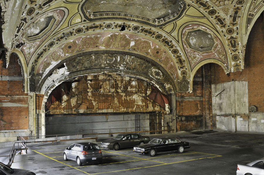 "Correspondent Miles O'Brien says he's saddened every time he returns to the Motor City and sees ""the ruins of a once great city."" Pictured: Michigan Theatre, now a parking garage. (Photo Credit: SNWEB.ORG Photography/Sean Doerr)"