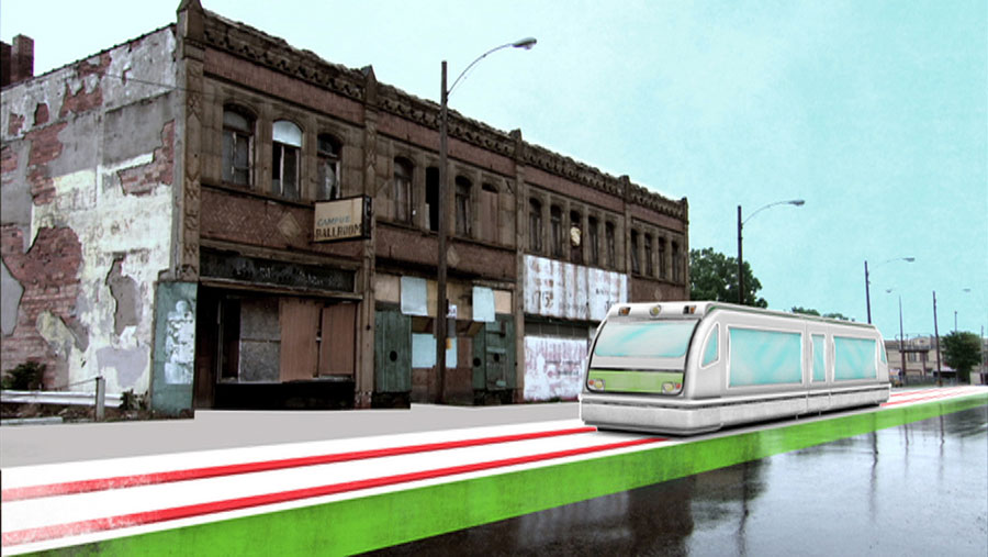 Using CGI animation combined with current footage of Detroit, the film brings the vision of the city's possible transportation future to life. A network of trains within the city center would run along main thoroughfares. (Photo Credit: Lloyd Handwerker and HUSH Studios, Inc.)