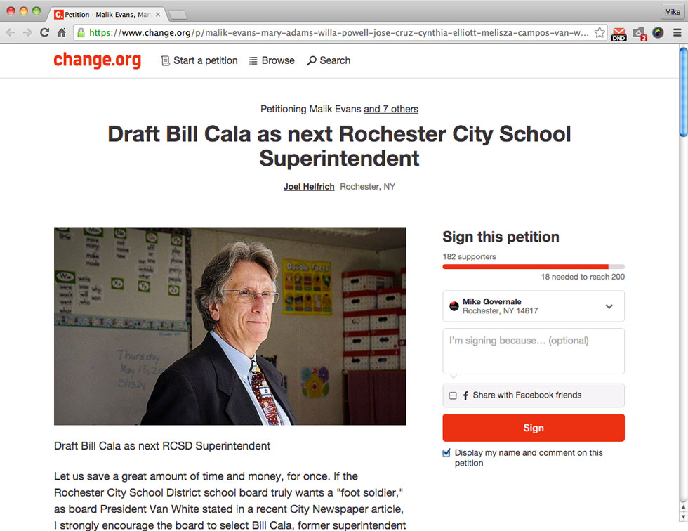 A petition asking for Bill Cala to be drafted as the next RCSD Superintendent has been started at Change.org.