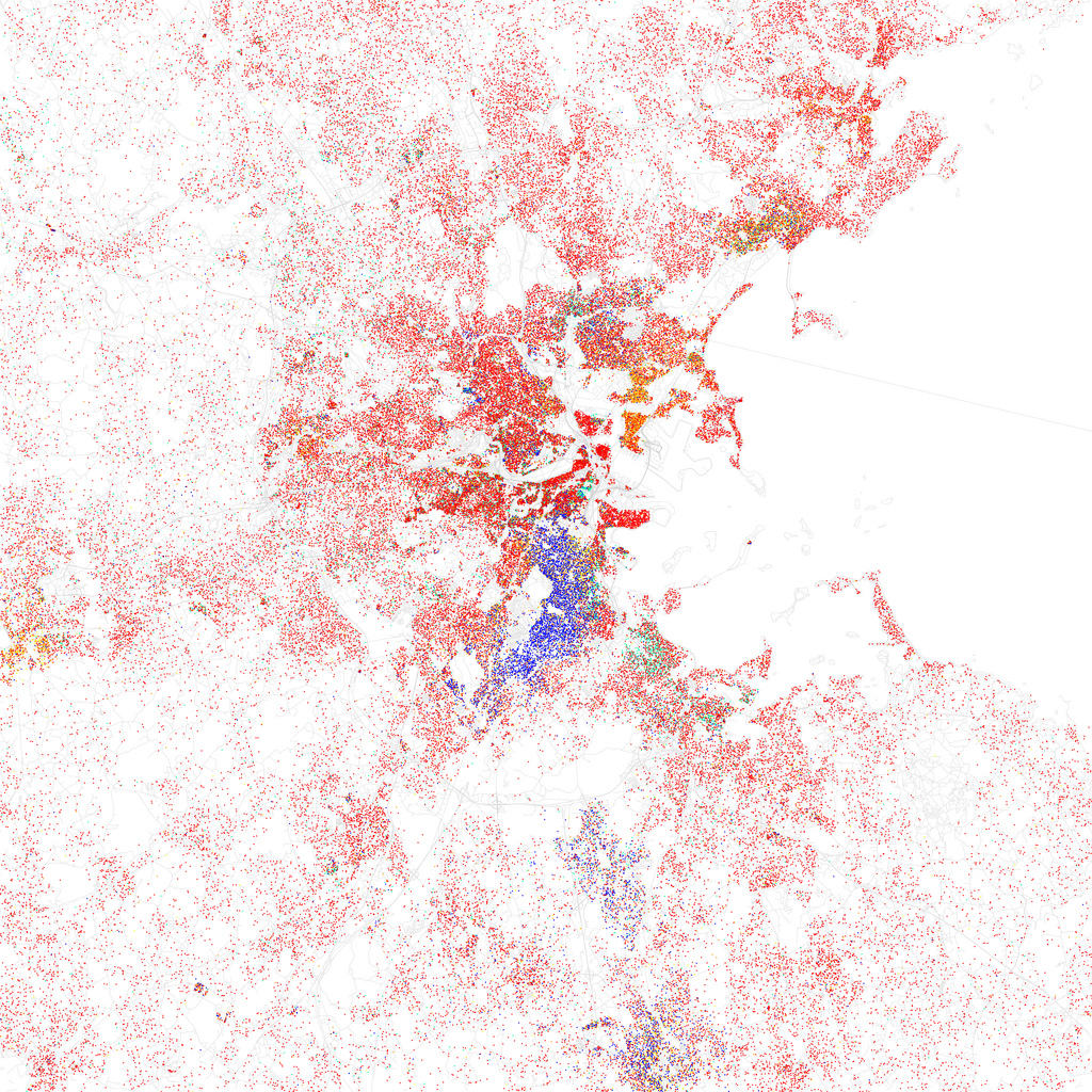 Map of racial and ethnic divisions in Boston, created by Eric Fischer using 2010 Census data.