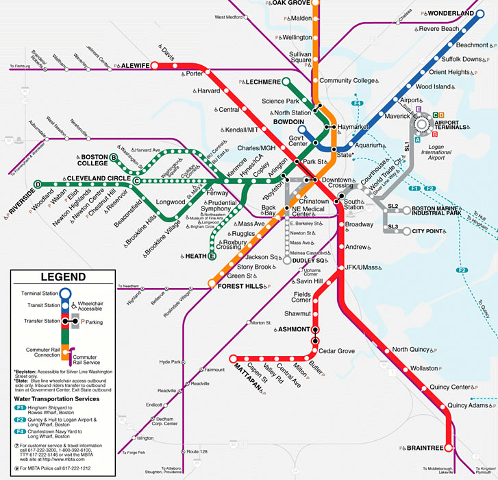 Map of the Boston Subway. The woman fell onto the tracks at North Station (on the green line).
