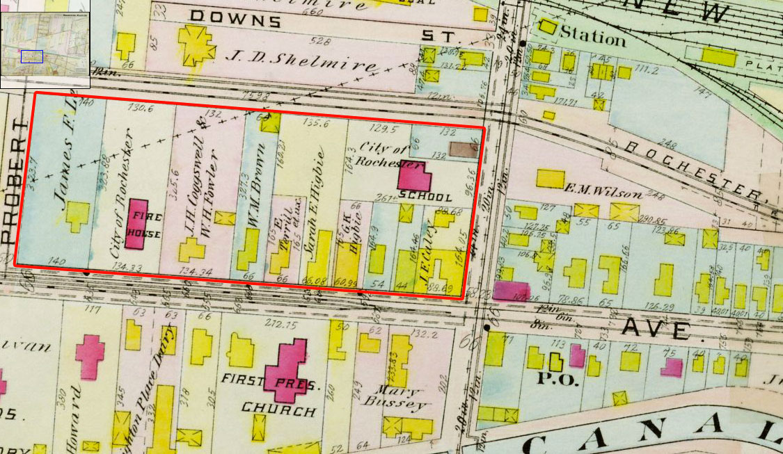 This plat map (1910) shows the area of old Brighton Village shortly after it was annexed by the City of Rochester. [IMAGE: Rochester Public Library]