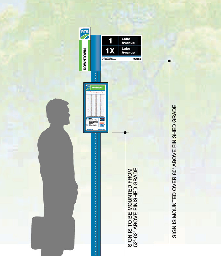 New RTS bus stop signage will be installed in 2015. [IMAGE: Rochester Transit Service]