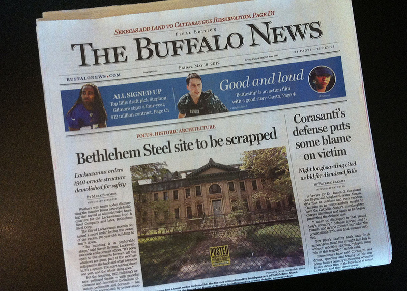 This is the former Bethlehem Steel North Office Building in Lackawanna, NY.  Designed by noted New York City architect Lansing C. Holden, this magnificent Beaux Arts building was originally designed for the Lackawanna Steel Company in 1902. It will likely be demolished within weeks. [Photo: Derek Gee, Buffalo News]