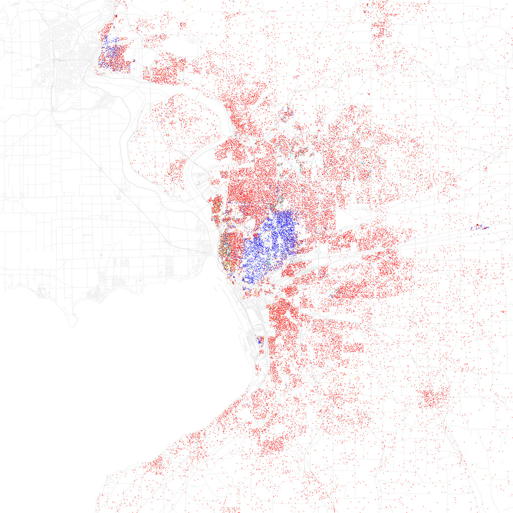 Map of racial and ethnic divisions in Buffalo, created by Eric Fischer using 2010 Census data.