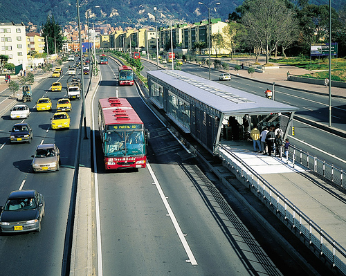 Bus Rapid Transit (BRT) in Bogota, Colombia - notice the separate lanes and enclosed shelters. A fixed guideway BRT system may one day serve Rochester.