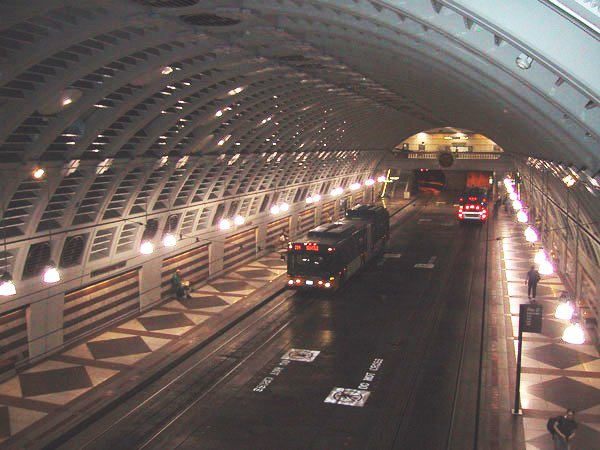 Metro Bus Tunnel in Seattle, Washington. Mr. Perrin doesn't mention Seattle's Rapid Bus system (probably because it's mostly underground and not comparable to anything we'd see here in Rochester) but it's one of the coolest things I've ever ridden on that didn't glide along a track.
