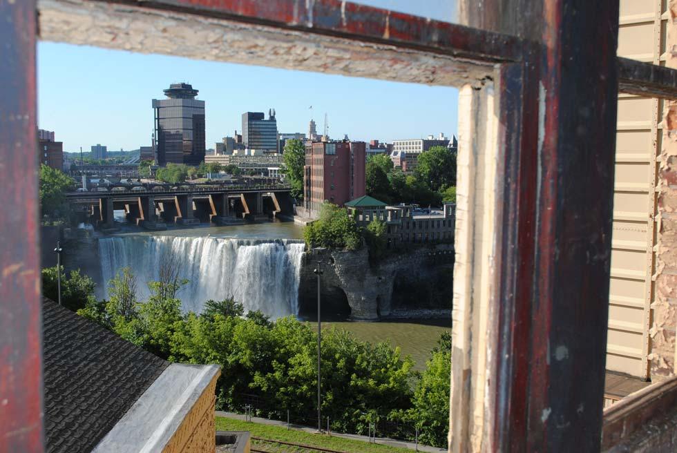 View of High Falls from 13 Cataract. [PHOTO: Landmark Society of Western NY]