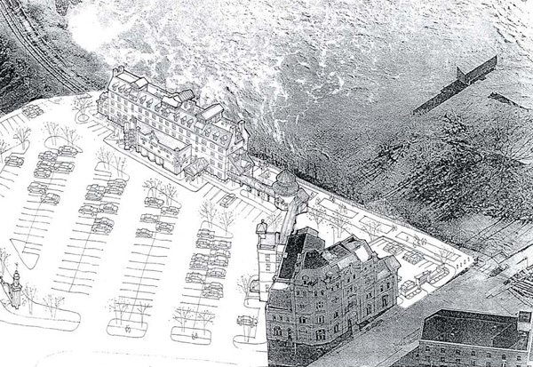 One potential development scheme for 13 Cataract. [DRAWING: Lecesse Construction, High Falls Development Plan, 2006]