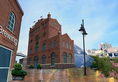 A view of what could one day be Rochester's Historic Brewery Square and entrance to the GardenAerial trail (right). [RENDERING: RochesterSubway.com]