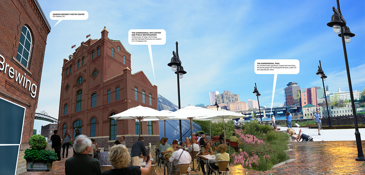 A view of what could one day be Rochester's Historic Brewery Square. The Brewery's visitor center (left), renovated 13 Cataract (center) and entrance to the GardenAerial trail (right).