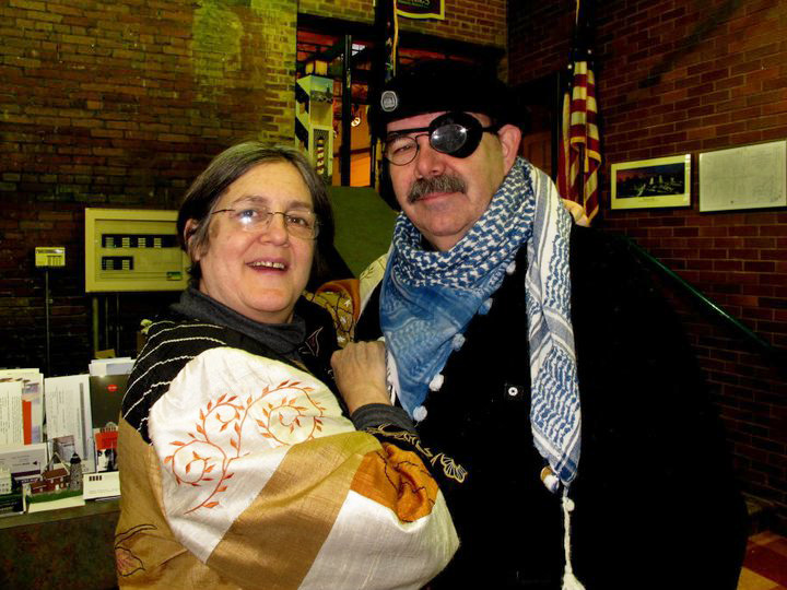 Sally Wood Winslow and her friend Roy at the High Falls Visitor Center.