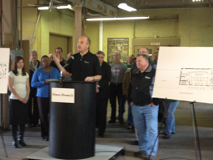 North American Breweries CEO Rich Lozyniak announces the Genesee Brew House.