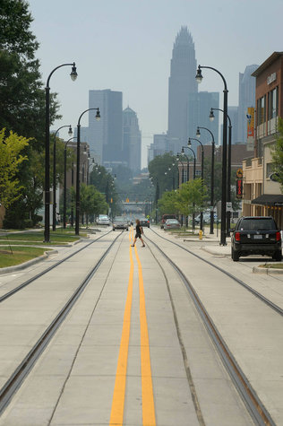 The Federal Transit Administration announced Thursday that Charlotte was one of six U.S. cities to get streetcar grants. One-half mile of track is already in place on Elizabeth Avenue near uptown. [PHOTO: TODD SUMLIN - tsumlin@charlotteobserver.com]