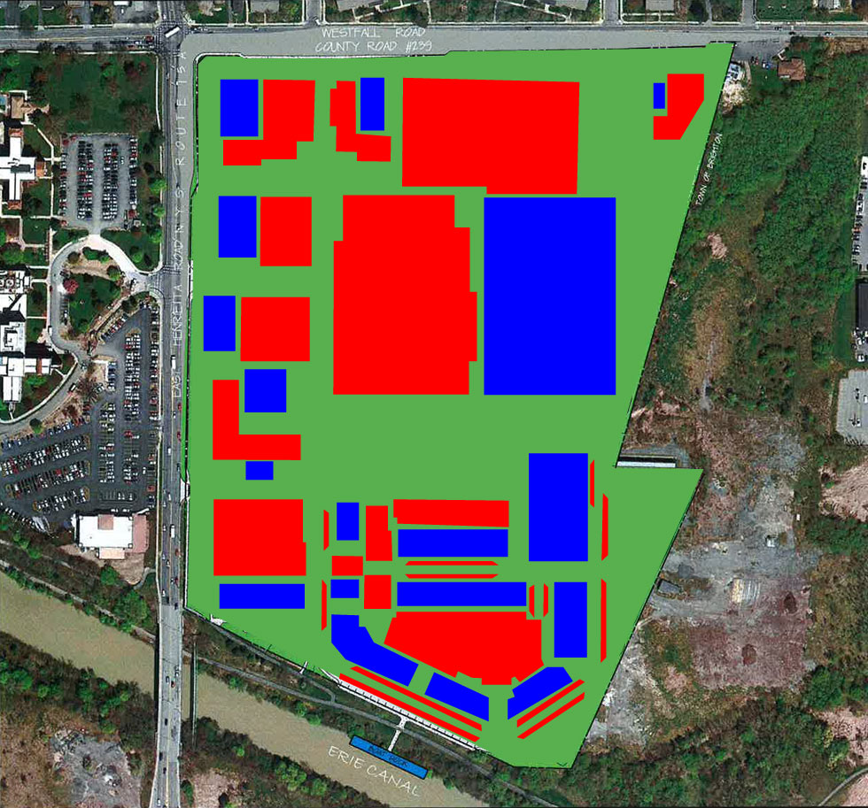 I've colored all the new development in Blue, and the new parking in Red. Pay attention and watch what I'm about to do...