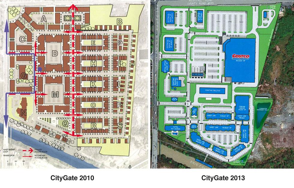 CityGate plans, 2010 vs 2013. [PHOTO: Joel Helfrich]