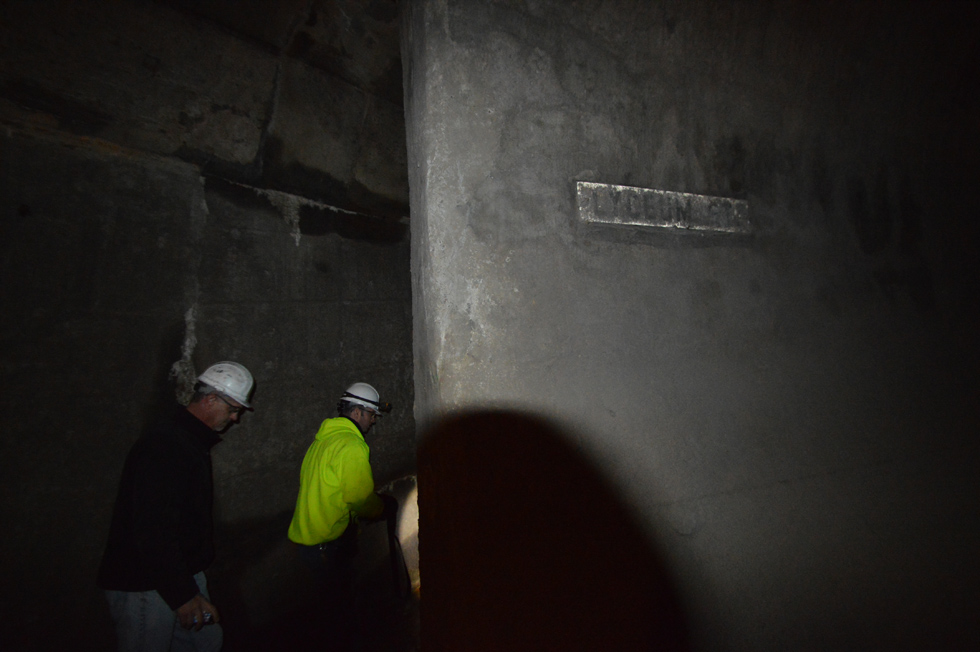Judging by the sign, I'd say we're about 80 feet beneath Lyceum Street. [PHOTO: RochesterSubway.com]