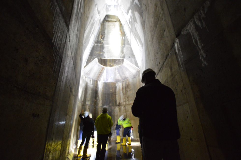 The walls rise up and angle in toward the center like some ancient Pagan temple. And I'm in awe. [PHOTO: RochesterSubway.com]