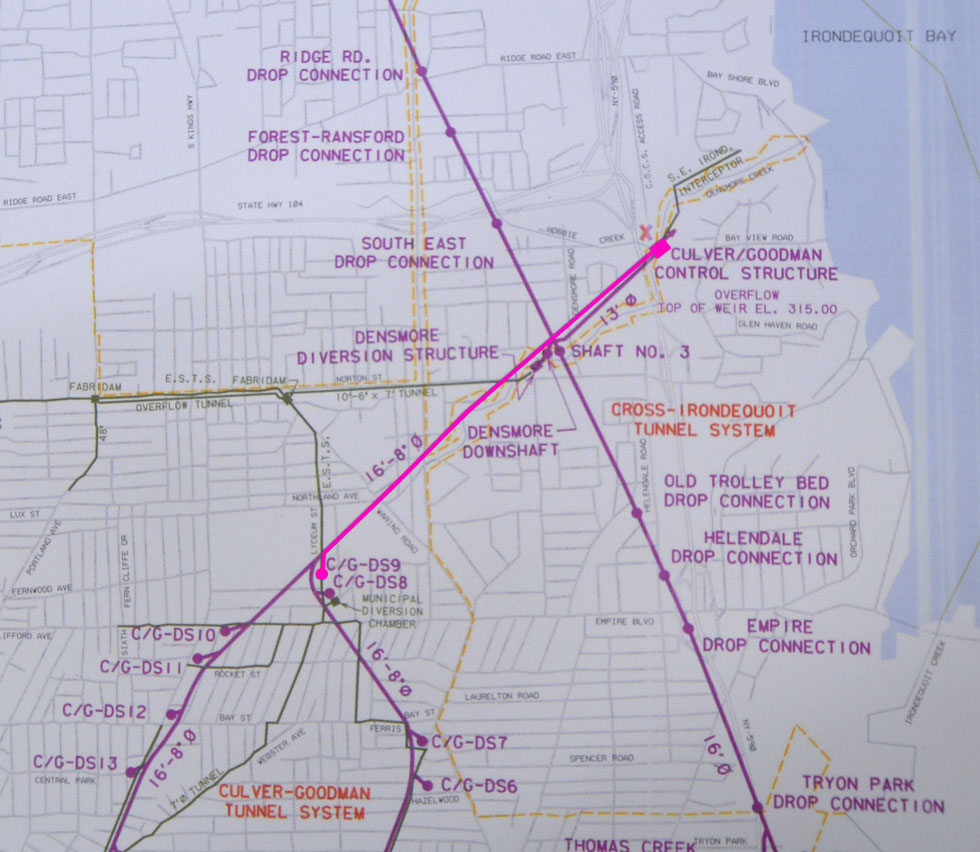 This diagram shows the 1.5 mile length of our trip (highlighted in pink). [PHOTO: RochesterSubway.com]