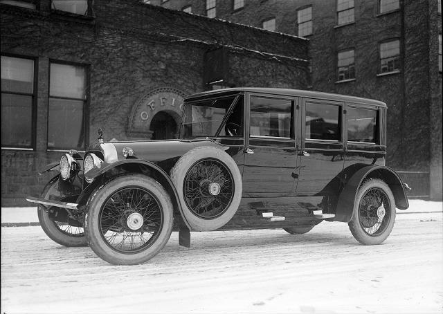 A Cunningham automobile in front of a factory on Canal Street. c.1910-1925. [PHOTO: Albert R. Stone collection]