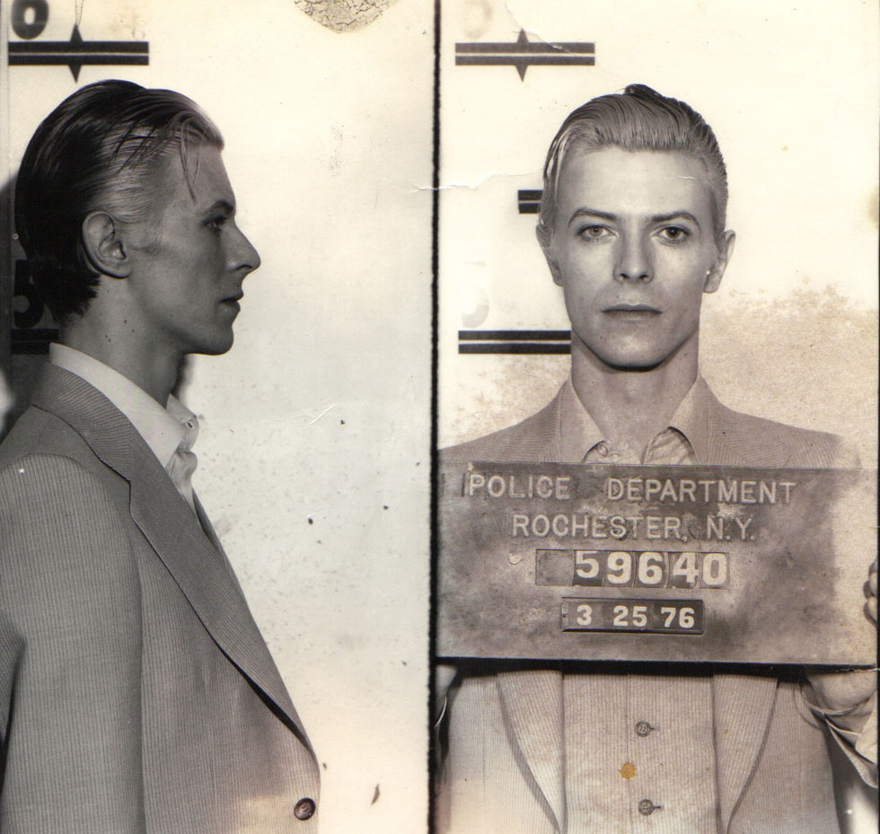 David Bowie's mugshot after being arrested in Rochester NY for possession of marijuana. [PHOTO: Provided by Todd Hess]