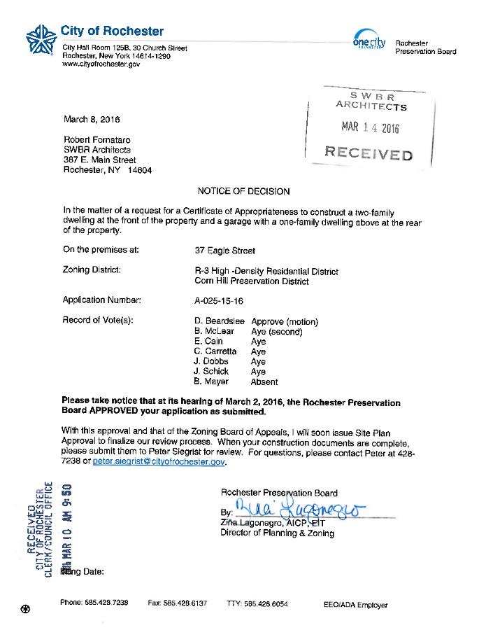 37 Eagle Street Preservation Approval
