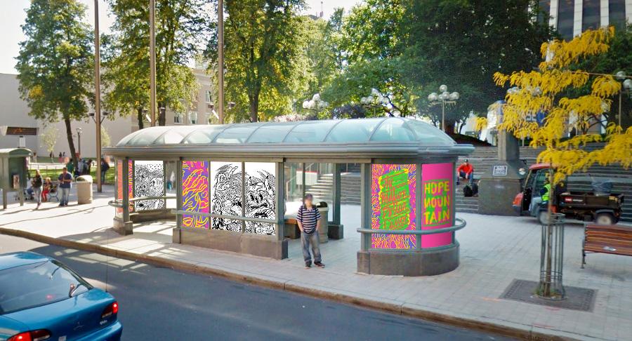 Hope Mountain Bus Shelter Mockup. [Image: Peter Lazarski]