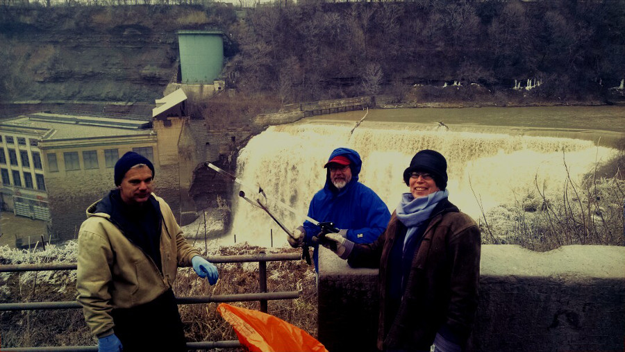 Cleaning at Rochester's Lower Falls [PHOTO: The Lower Falls Foundation]