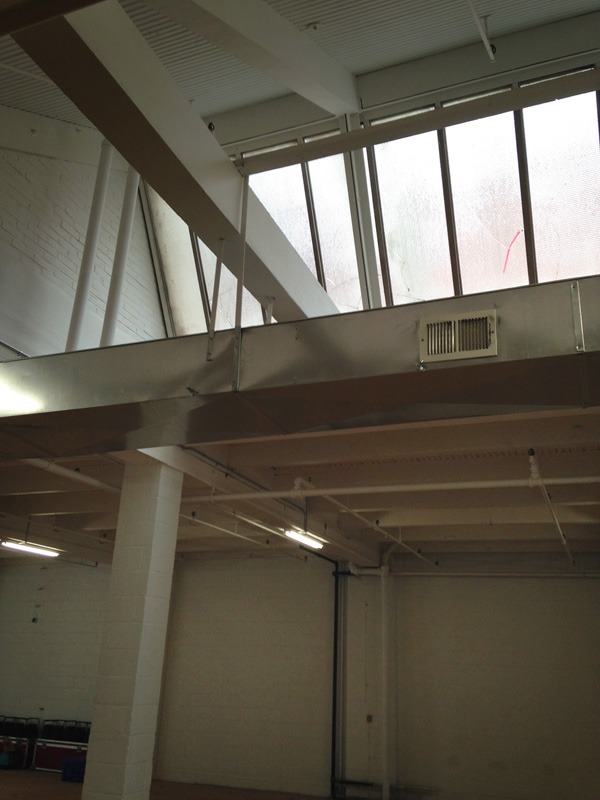 Saw-tooth skylights inside 210 South Avenue, Rochester NY. [PHOTO: Steve Vogt]