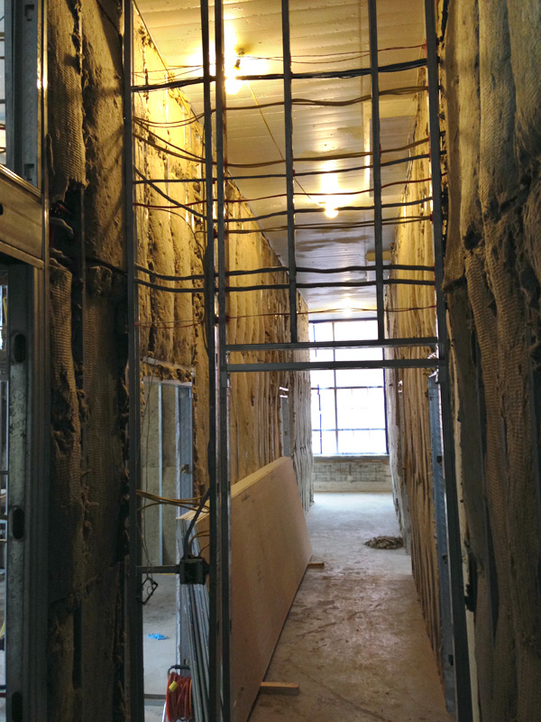 Hallway under construction at 210 South Avenue, Rochester NY. [PHOTO: Steve Vogt]
