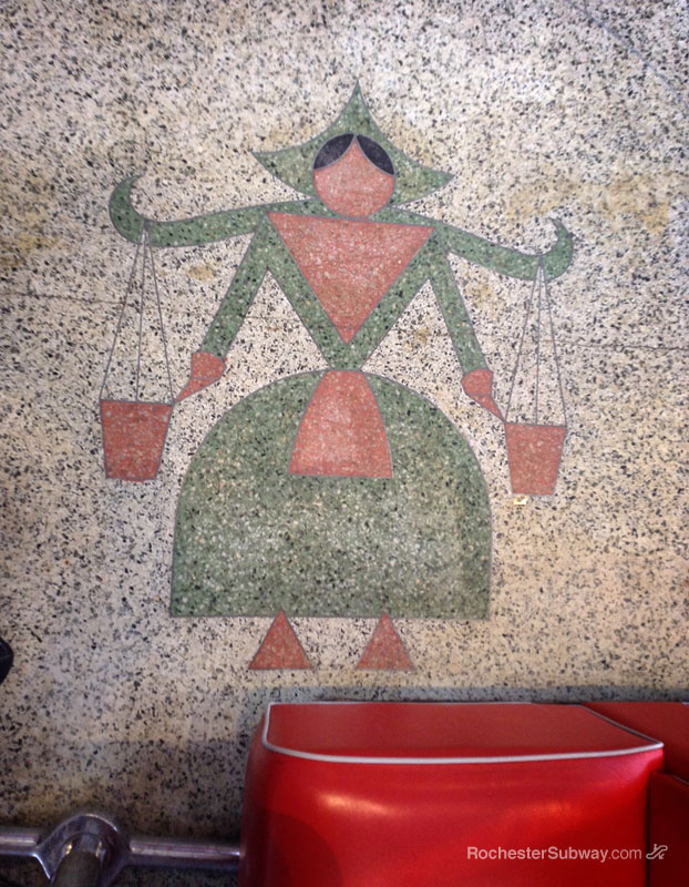 An Art-Deco style milkmaid is depicted in the floor of Donuts Delite, Rochester NY. [PHOTO: RochesterSubway.com]