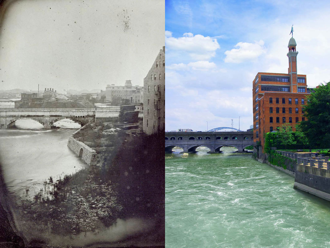 George Eastman's First Photo – taken in Rochester, NY (looking south) of the Erie Canal Aqueduct (now the Broad St. Bridge) over the Genesee River.