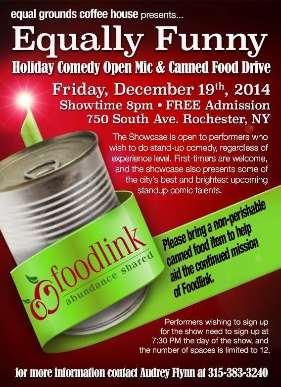 Equally Funny Comedy Open Mic Night, food drive for Foodlink.