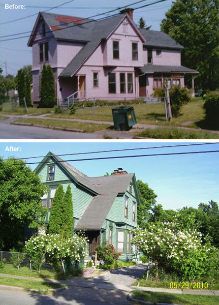 A before and after of Jim and Jo's handy work on Evergreen Street on Rochester's north side. Amazing!