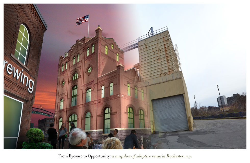 The Cataract Brewing Company building on Cataract Street. From Eyesore to Opportunity: a snapshot of adaptive reuse in Rochester N.Y.