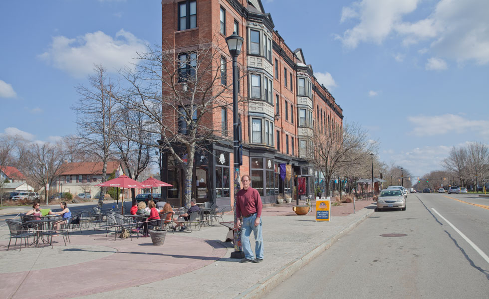 The Flatiron Building on University Avenue, Rochester N.Y. That's Paul Kramer in the foreground. Thanks Paul! Nice work!