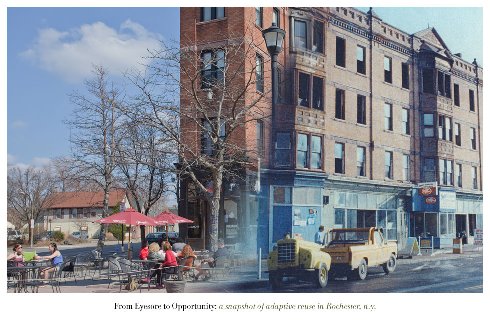 The Flatiron Building on University Avenue. From Eyesore to Opportunity: a snapshot of adaptive reuse in Rochester N.Y.