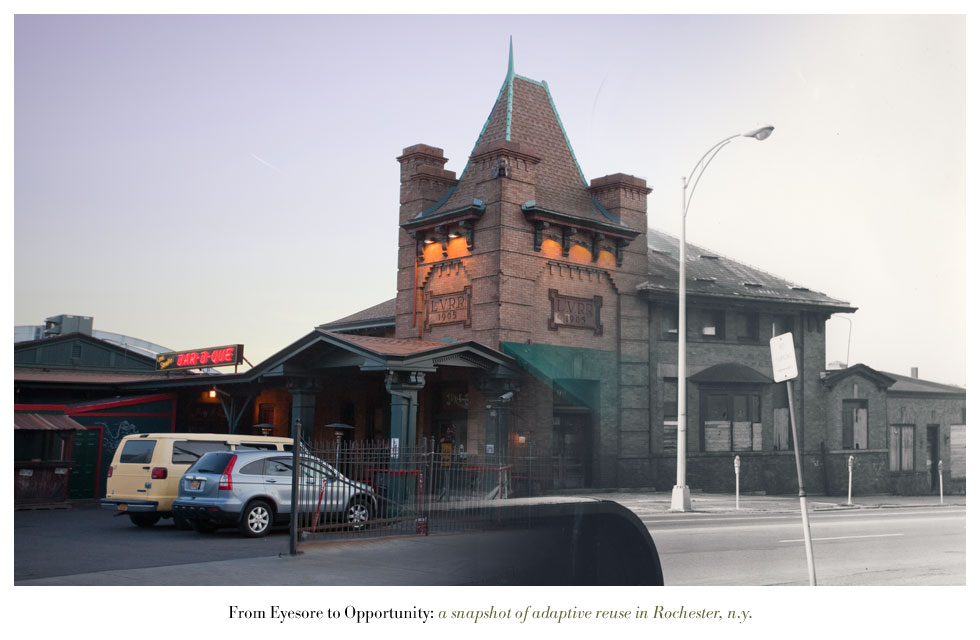 The Lehigh Valley Railroad Station on Court Street. From Eyesore to Opportunity: a snapshot of adaptive reuse in Rochester N.Y.