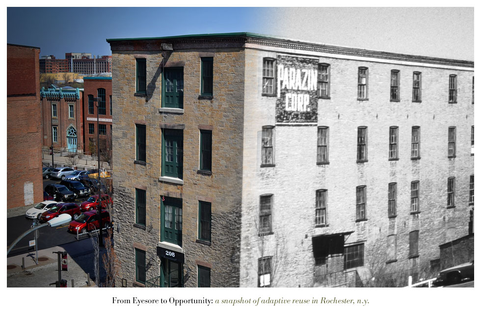 The Parazin Building on Mill Street. From Eyesore to Opportunity: a snapshot of adaptive reuse in Rochester N.Y.