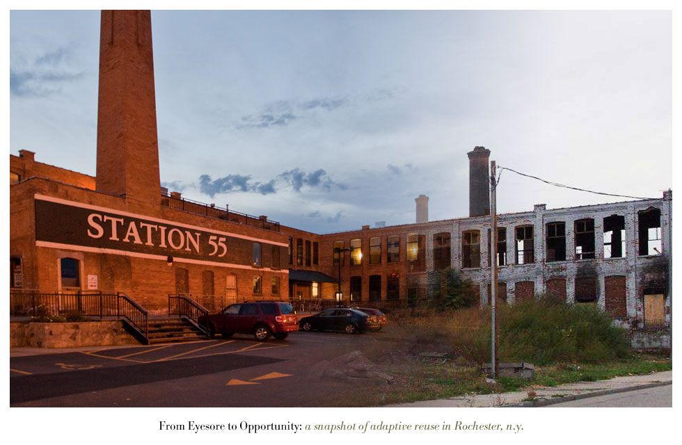 Station 55 on Railroad Street. From Eyesore to Opportunity: a snapshot of adaptive reuse in Rochester N.Y.