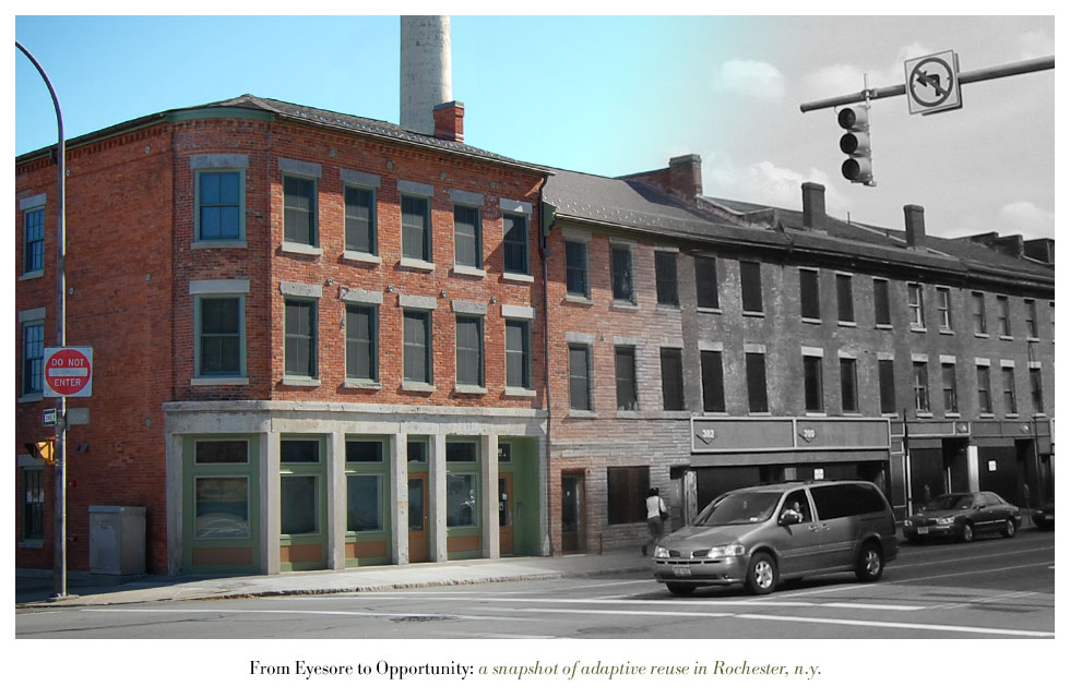 The Teoronto/Smith Block on State Street. From Eyesore to Opportunity: a snapshot of adaptive reuse in Rochester N.Y.
