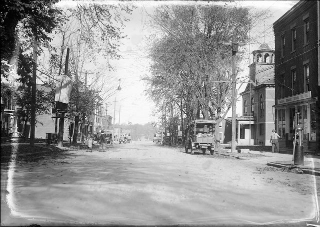 Main Street in Fairport, between the Clark Building and the Town Hall, where 'Rochester colored youth' James Noey was killed during the so-called 'Fairport Riot'. [PHOTO: Rochester Herald, October 24, 1920]