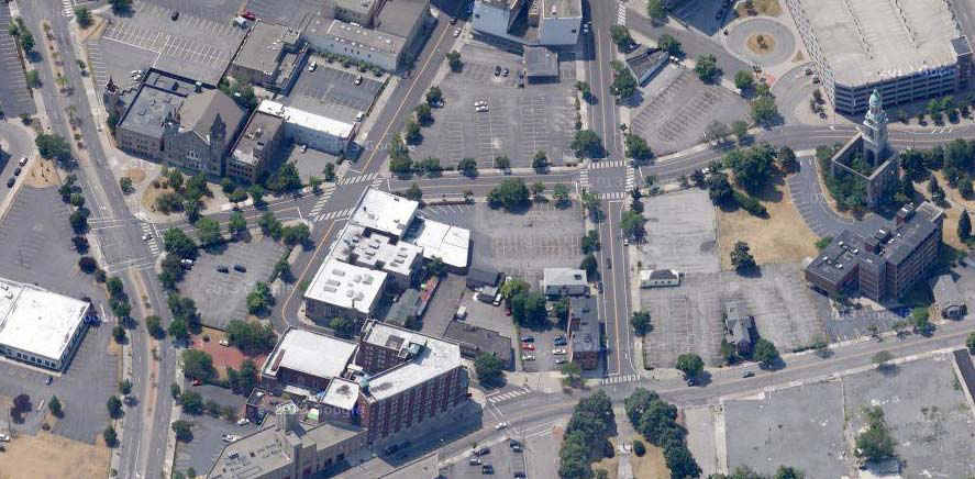 Aerial view of downtown Rochester parking lots. [IMAGE: Google Maps]