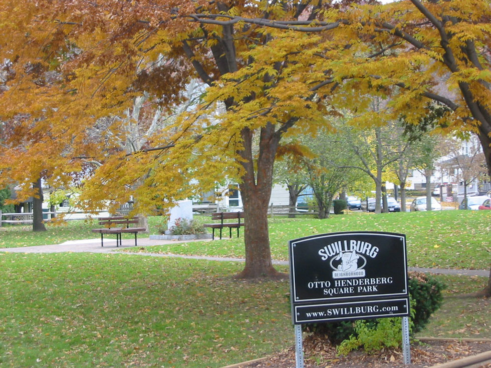 Otto Henderberg Square Park in the Swillburg neighborhood.