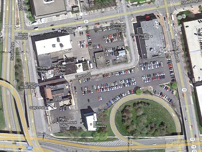 The trick will be blending new construction with old to create a new, walkable theater district. [IMAGE: Google Maps]