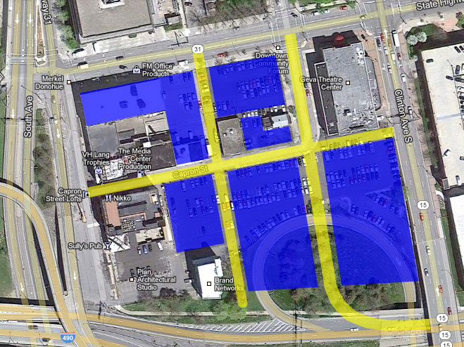 Let's break up the mega blocks into a more human-scale street grid. Let's also reconfigure the sweeping 490 off-ramp.